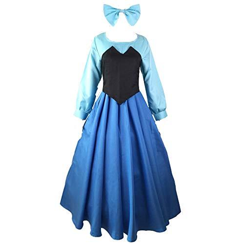 Fanstyle La Sirenita Vestido Azul Cosplay Disfraz Ariel Princesa Vestido Chaleco Arco Tocado 3 Piezas