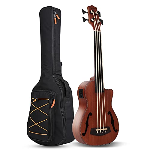 Batking Electric Ukulele,30 Inch Cutaway Bass Wooden Electric Acoustic Bass Ukulele Ukelele Built-in...
