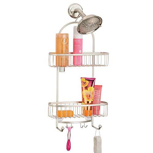 mDesign doucheplank om op te hangen over de douchekop (extra groot) - praktisch doucheplank zonder boren - met zuignappen - douchemand om op te hangen van metaal voor shampoo, scheerapparaten & Co. - matzilver.