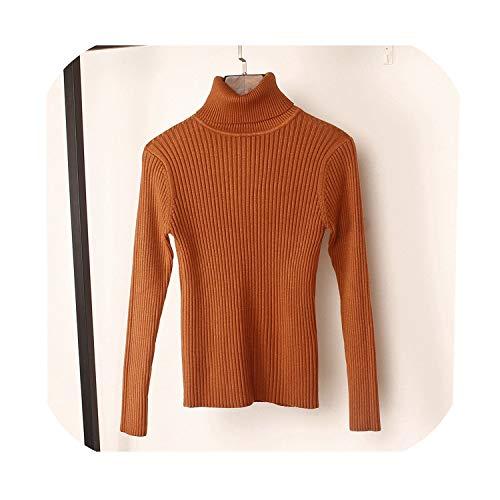 Dikke trui vrouwen gebreide geribbelde trui lange mouwen coltrui slanke trui