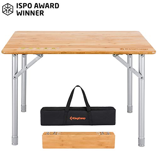KingCamp Bamboo Folding Table with Carry Bag 4 Fold Heavy Duty Adjustable Height...