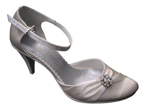Zapatos de Novia Boda satén Brillantes Piel, Color Marfil, Talla 35 EU...