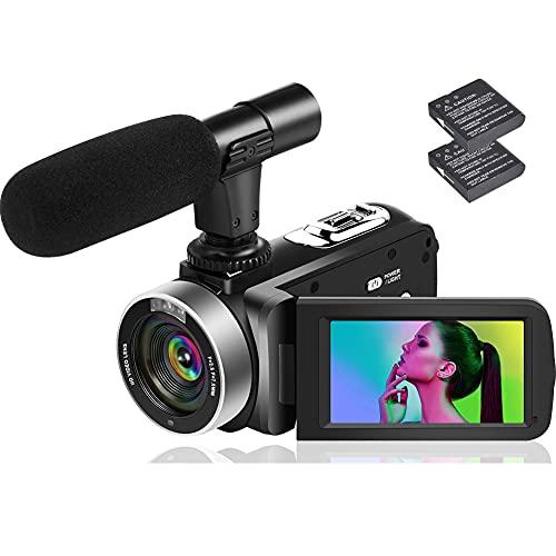 """Videocámara Cámara de Video Full HD 2.7K 42MP videocamara con Zoom Digital 18X Función de Pausa con LCD de 3.0 """"y Pantalla de rotación de 270 Grados Cámara de Video grabadora con Control Remoto (V10)"""