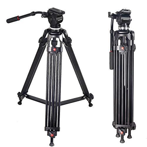 ASHANKS プロカメラ三脚 実用型三脚 カメラ ビデオカメラ 一眼レフ ビデオ対応 3段階伸縮可能 角度調節 全高160CM 耐荷重5Kg アルミ製 油圧ダンピング ボール雲台 プロ仕様 頑丈