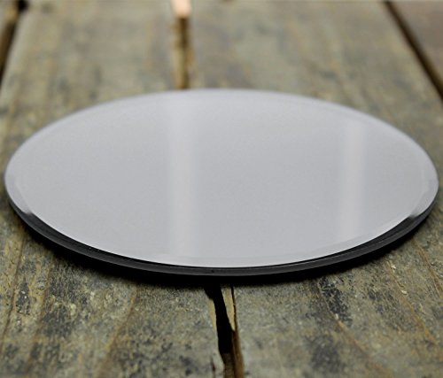 Round Bevelled Edged Glass Mirror Coaster Candle Plate Stand 12cm