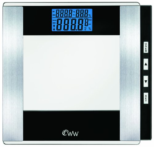 WW Scales by Conair Body Analysis Glass Bathroom Scale - Measures Body Fat in Weight and Percentage, Body Water, Bone Mass, BMI, 4 User Memory, 400 lb. capacity, Black / Chrome