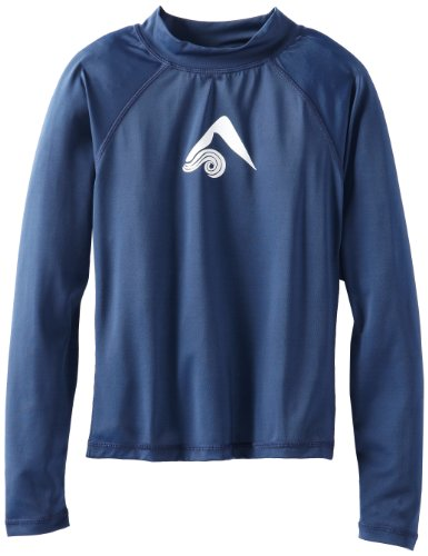 Kanu Surf Little Boys' Platinum Long Sleeve Rashguard, Navy, Medium (10)