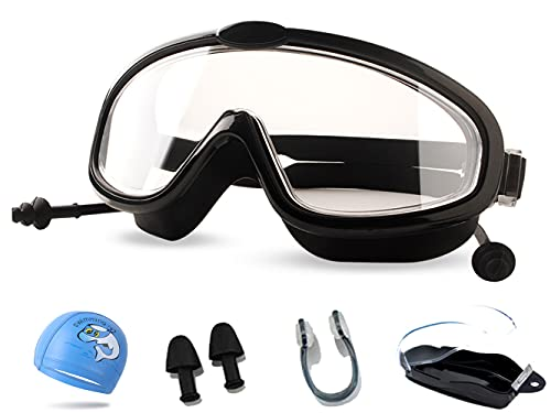 Ancaiqi Gafas de natación Anti-vaho protección UV Sin Fugas visión Clara Marco grande Gafas para Nadar para Hombres Mujeres (niños negro HD)