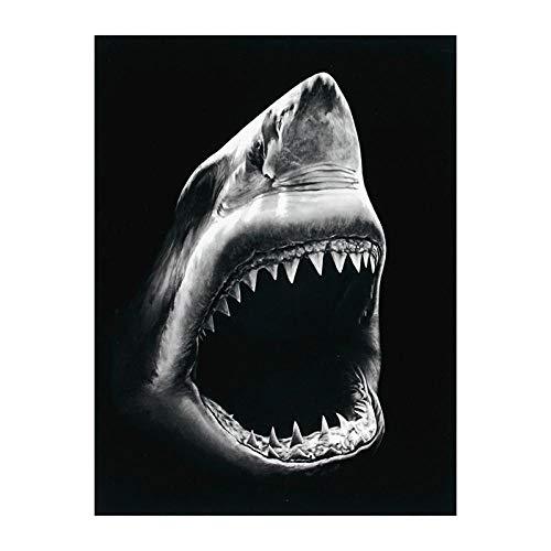 FUYUHAN Póster nórdico, Mural Mural nórdico tiburón Lienzo Pintura Animal Pared Arte Lienzo impresión Cuadros Imagen Lienzo Arte tiburón Cartel hogar Pared decoración-30x40 cm Frameless_A1608