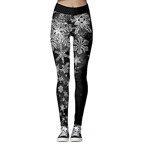bayrick Daily change,Snowflake Christmas Yoga Pants Women's Moisturizing Sweatpants-black_XXL