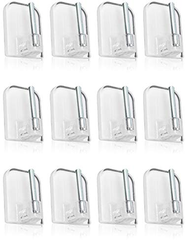 com-four® 12x Barras de Cortina Adhesivas para Barras de Vidrio - Transparente Soporte para Cortinas, 2,3 x 1,5 cm