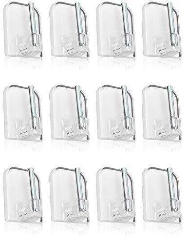 com-four® 12 Selbstklebende Gardinenhaken für Vitragestangen, Farbe: transparent, Maße: 2,3 x 1,5 cm