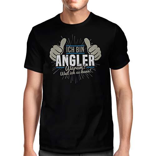 Fashionalarm Herren T-Shirt - Angler - Weil ich es kann   Fun Shirt mit lustigem Spruch als Geschenk-Idee für Fischer Angeln Fischen Beruf, Schwarz XXL