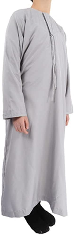 DEWUFAFA Muslim Robe, Oman Robe for Boys Aged 8-18, Long-Sleeved Cotton and Linen Arab Robe (Color : A, Size : 34#)