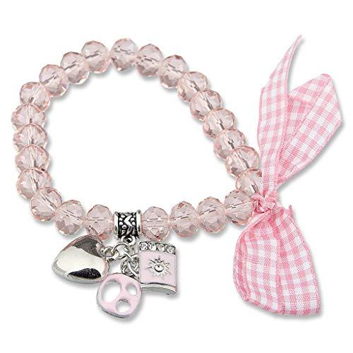 Perlenarmband reich verziertes Edelweiss Trachten Armband mit kleinem Herz, eine Brezel und ein Bierseidel Oktoberfest Wiesn