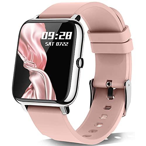 Kalinco Smartwatch, 1.4-Zoll Touch-Farbdisplay Fitness Tracker mit Blutdruckmessung, Smart Watch Pulsuhr Schlafmonitor Sportuhr IP67 Wasserdicht Schrittzähler für Damen Herren