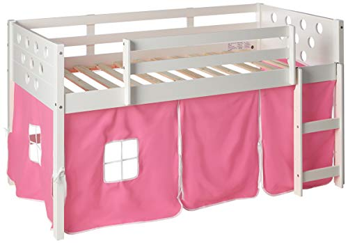 DONCO KIDS Circle White Low Loft with Pink Tent, Twin