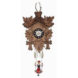 Pinnacle Peak Trading Company Swinging Girl Doll Quartz Movement Wooden German Deer Head Clock Sound Germany