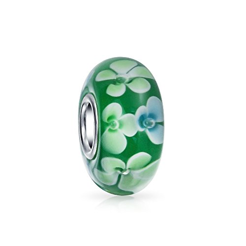 Verde Blanco Cristal Murano Flor Plata Esterlina 925 Núcleos Abalorio Separador Pulsera Europea Mujer Adolescente