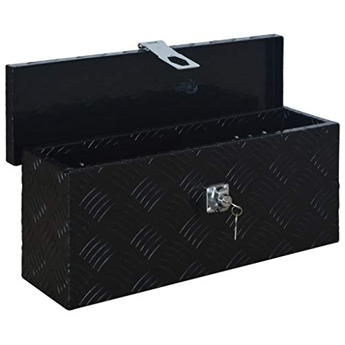 vidaXL Aluminiumkiste Transportkiste Transportbox Werkzeugkiste Werkzeugbox Deichselbox Alubox Alukoffer Lagerbox 485x140x200 mm Schwarz Aluminium - 4