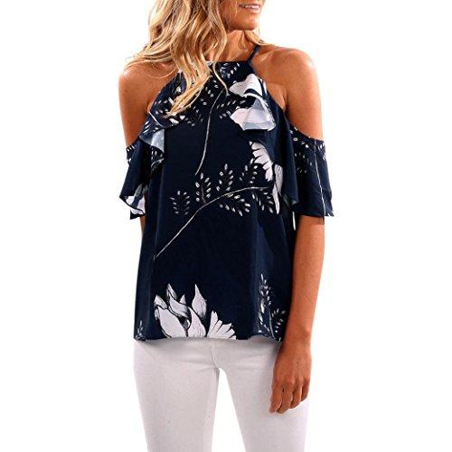 VENMO Das T-Shirt der Art- und Weisefrauen Gekräuselte Schulteroberteile Lässige Bluse Sommer (Dark Blue, XL)