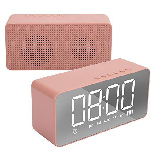 Altavoz Reloj Despertador, Mini Despertador 3D de Alto Volumen Altavoz inalámbrico Bluetooth 5.0, Pantalla de Espejo HD, Radio FM Reloj Despertador Digital, para teléfono móvil Computadora(Rosa Rosa)