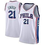 WOLFIRE SC Camiseta de Baloncesto para Hombre, NBA, Philadelphia 76ers 21# Joel Embiid. Bordado, Transpirable y Resistente al Desgaste Camiseta para Fan (Blanca, XXL)