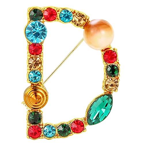 Moginp Schöne Briefbrosche Farbige Diamant Türkis Brosche - Brief Brosche Lapel Farbe Diamant Türkis Brosche Alphabet(D)