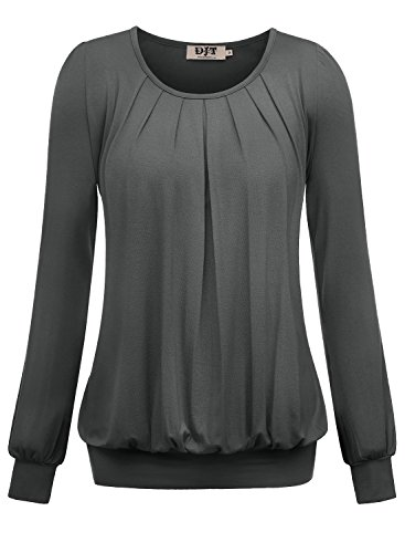 DJT Damen Langarmshirt Rundhals Falten T-Shirt Stretch Tunika Top Dunkelgrau Medium