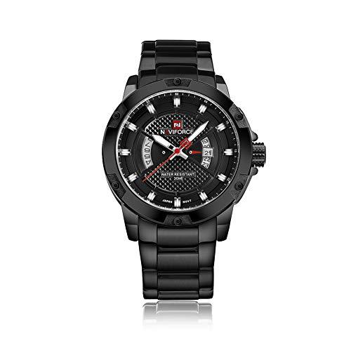 Naviforce Herren Analog Quarz Uhren Edelstahl Band Wasserdicht Sport Handgelenk Uhren für Männer (Schwarz)