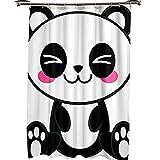 MALECUPWH Textilduschvorhang 200 X 200 Mit Duschvorhang Haken Cartoon Panda Shower Curtain Polyester Stoff Antischimmel Wasserdicht 200X200 cm