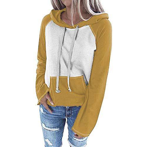 x8jdieu3 Sweater Top Damen Winter Rundhalsausschnitt Lässige Kontrastfarbe Collage...