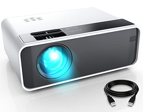 """Mini Projector, CiBest Video Projector Outdoor Movie Projector 7500L, LED Portable Home Theater Projector 1080P and 200"""" Supported, Compatible with PS4, PC via HDMI, VGA, TF, AV and USB…"""