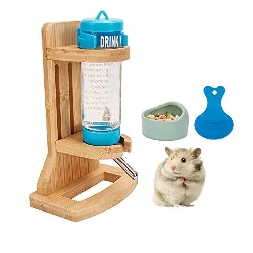 Hamster - Borraccia con supporto, regolabile, in legno, per criceti, porcellini d'India, con base, con abbeveratoio in legno e roditori, ciotola in ceramica e cucchiaio di plastica (125 ml)