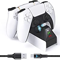 6amLifeStyle Dual PS5 Controller Charger Station with 10FT USB C Fast Charging Cable with LED Indicator