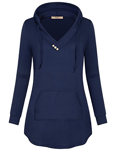 Plain Hoodie,Miusey Women V Neck Knit Sweater Blusas Elegantes Athleisure Travel Semi Formal Top Breathable Clothes Different Carbon Sweat Shirt with Pleats Stunning Elongated Tops Charcoal Blue-2 L