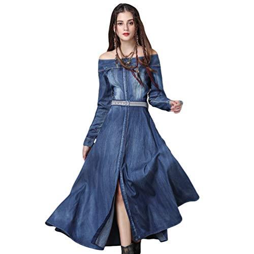 YuanDian Damen Lange Jeanskleid Off Shoulder Einreiher Retro Maxi Denim Kleider Langarm Kalte Schulter Button-down Casual Groß Swing Kleider Mit...