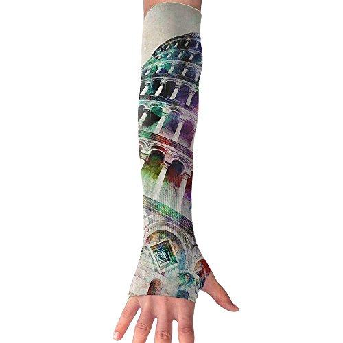 HBSUN FL Unisex Leaning Tower Of Pisa Art Anti-UV Cuff Sunscreen Glove Outdoor Sport Climbing Half Refers Arm Sleeves