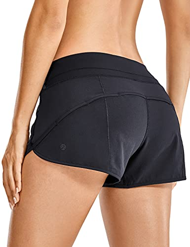 CRZ YOGA Women's Quick-Dry Workout Sports Active Running Shorts - 2.5 Inches Black Medium