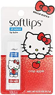 Softlips All Natural Hello Kitty Lip Balm, Crisp Apple with Vitamin E, Shea Butter, Coconut Oil, and BlackBerry Seed Oil, 0.15 oz