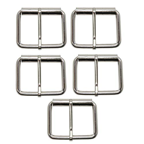 Trimming Shop Metal Single Prong Roller Buckle Strap Adjuster for Shoes, Bags, Luggage, Backpack, Clothing Accessories, Leathercraft (38mm, Silver, 5pcs)