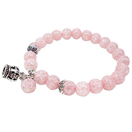 CAOLATOR Armbänder Damen Kristall Perlen Armband Stretch Armkette Frauen Armreif mit Frauen Anhänger für Geburtstag/Hochzeit/Jahrestag/Valentine/Weihnachten (Rosa)
