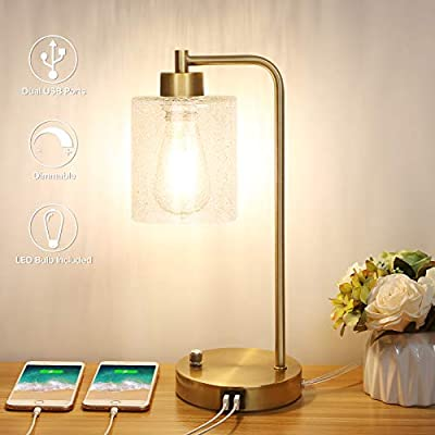 Industrial Table Lamp with Dual USB Charging Ports, Dimmable Bedside Lamp Cracked Glass Shade Minimalist Nightstand Lamp Gold Metal Base Simple End Table Lamp for Bedroom, 6W LED Vintage Bulb Included