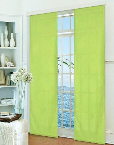 Gardinenbox Flächenvorhang, Schiebegardine Blickdicht matt, Apfelgrün, aus Micro Satin (Mikrofaser Gewebe), mit Paneelwagen und Beschwerungsstange -85600-, 85600