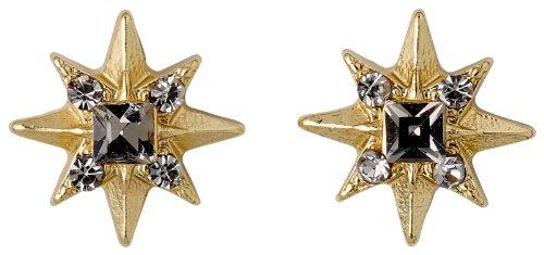 Pilgrim Jewelry Damen-Ohrstecker Messing Kristall Starcross Vergoldet 0.8 cm grau 191342103