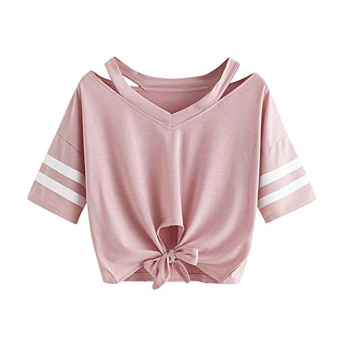 YEBIRAL Damen Sweatshirt, Teenager Mädchen Kurzarm T-Shirt Bauchfrei Oberteil Kurz Sommer Strand Casual Crop Tops V-Ausschnitt Bluse mit Schleife(S,Rosa)