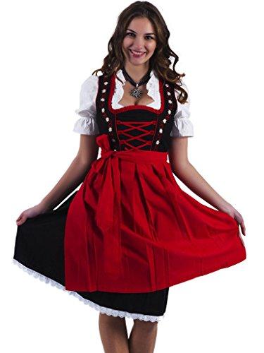 Alpenmärchen, 3tlg. Dirndl-Set - Trachtenkleid, Bluse, Schürze, Gr.58, schwarz-rot, ALM467
