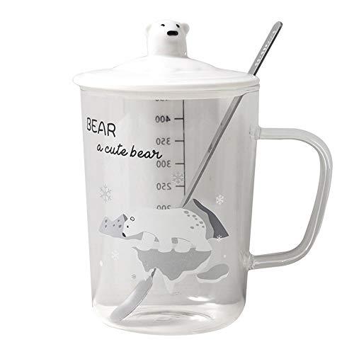 CXL Cartoon glass, fresh and cute, polar bear borosilicate, spoon with lid, transparent glass