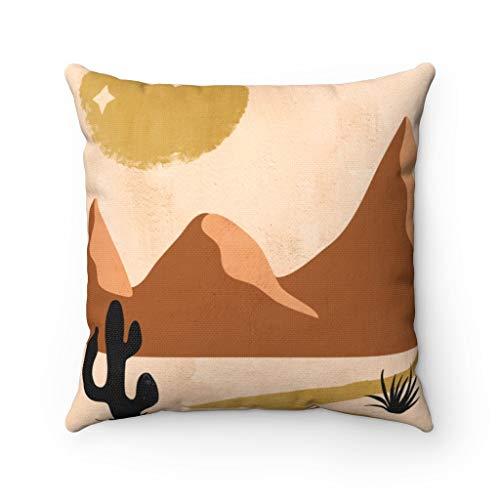 Promini Pillow Cover, Couch Accent Decorative Pillowcase, Sun Moon Stars,Terra Cotta Mystic,Beige Brown Gold,Cactus Spruce, Southwestern, Abstract Case Cushion for Sofa Home Decor 18 x 18 Inches