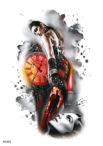 Reloj Mujer Flor Brazo 15X21cm-10Pcs Rainday Negro Tatuaje Temporal Pegatinas Arte Stickes Para Adultos Mujeres Niñas Gran Brazo Tatuaje Pegatinas Cuerpo Pegatina